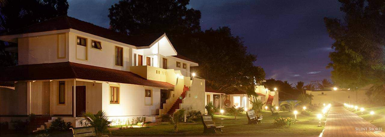 Night view of classic rooms and say at Silent Shores - The best spa resort in Mysore - Luxury Resort, Mysore